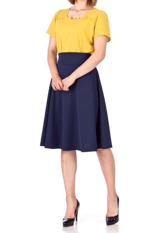 Stunning Wide High Waist A line Full Flared Swing Office Dance Party Casual Circle Skater Midi Skirt Navy 03