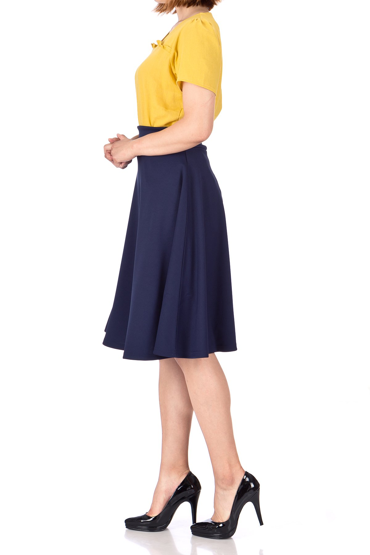 Stunning Wide High Waist A line Full Flared Swing Office Dance Party Casual Circle Skater Midi Skirt Navy 04