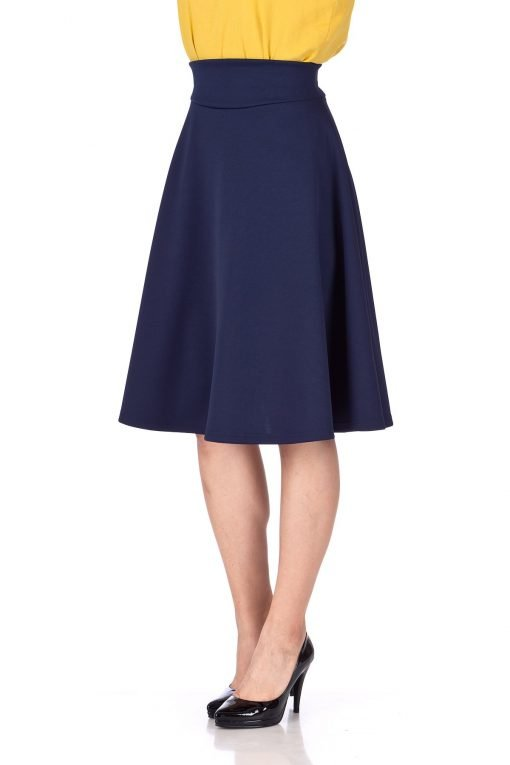Stunning Wide High Waist A line Full Flared Swing Office Dance Party Casual Circle Skater Midi Skirt Navy 06