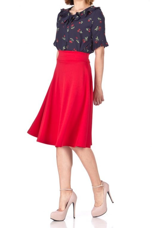 Stunning Wide High Waist A line Full Flared Swing Office Dance Party Casual Circle Skater Midi Skirt Red 01