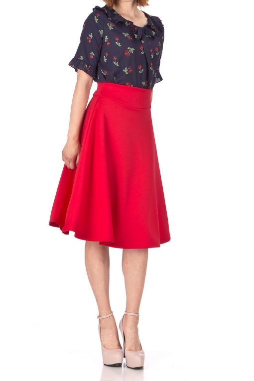 Stunning Wide High Waist A line Full Flared Swing Office Dance Party Casual Circle Skater Midi Skirt Red 02
