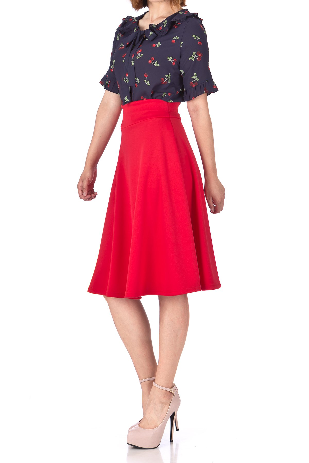 Stunning Wide High Waist A line Full Flared Swing Office Dance Party Casual Circle Skater Midi Skirt Red 03