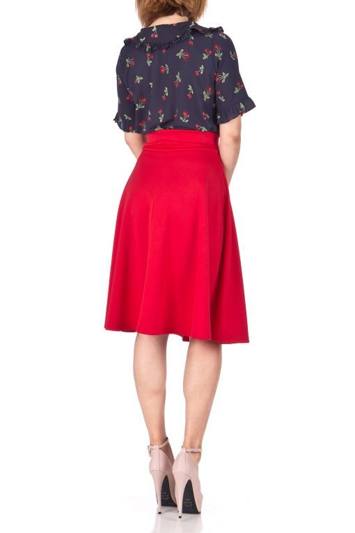 Stunning Wide High Waist A line Full Flared Swing Office Dance Party Casual Circle Skater Midi Skirt Red 04