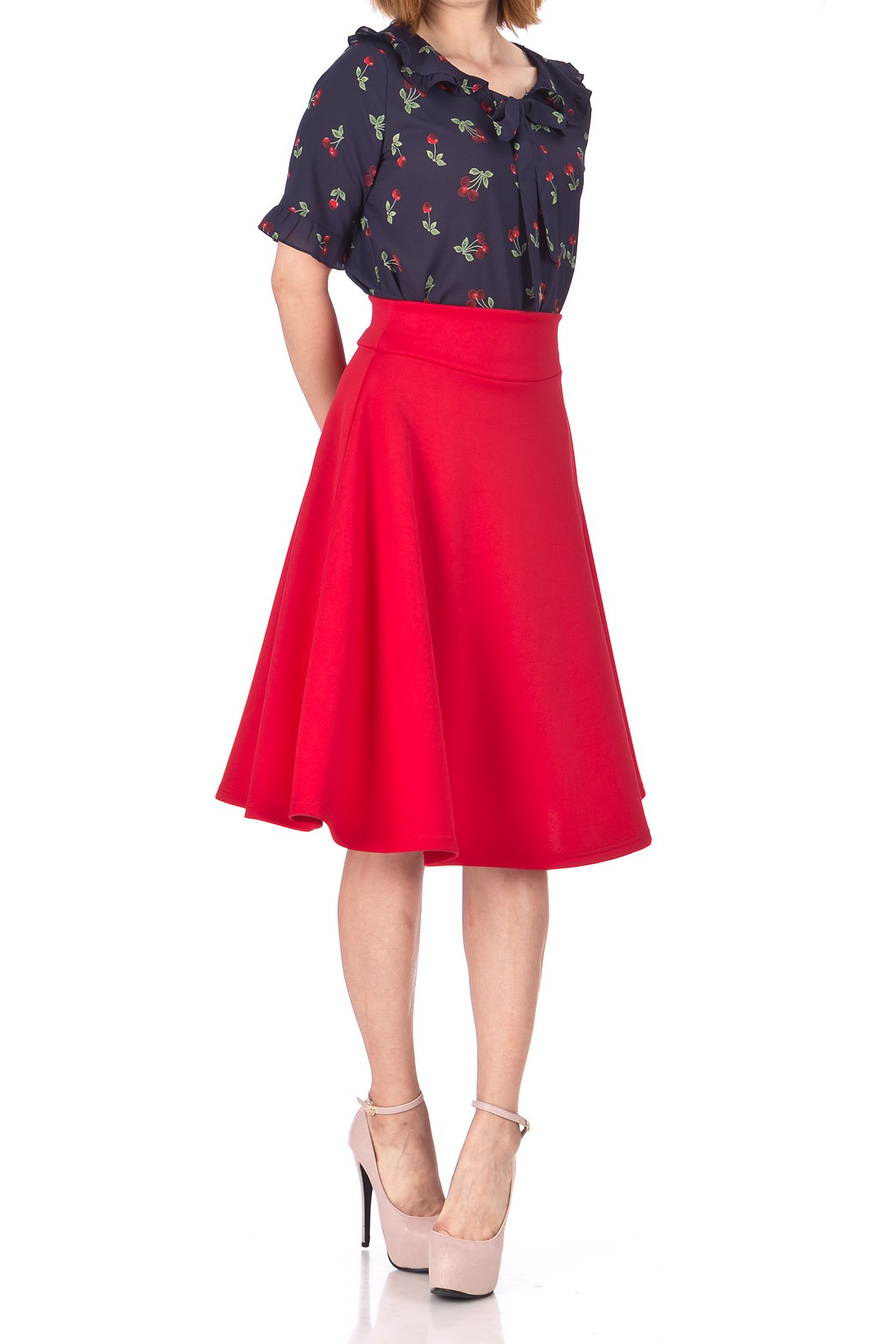 Stunning Wide High Waist A line Full Flared Swing Office Dance Party Casual Circle Skater Midi Skirt Red 05