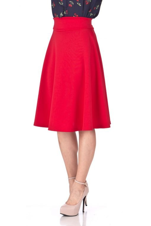 Stunning Wide High Waist A line Full Flared Swing Office Dance Party Casual Circle Skater Midi Skirt Red 06