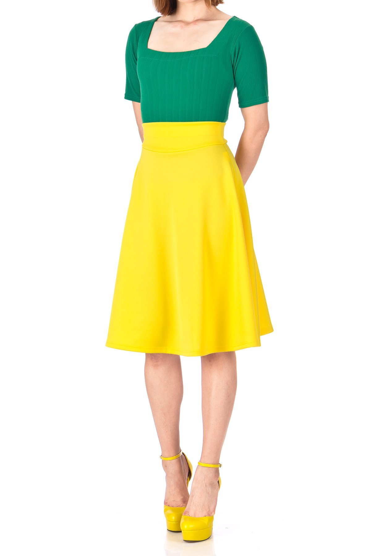 Stunning Wide High Waist A line Full Flared Swing Office Dance Party Casual Circle Skater Midi Skirt Yellow 01