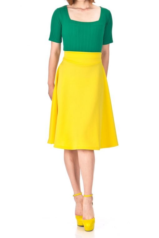Stunning Wide High Waist A line Full Flared Swing Office Dance Party Casual Circle Skater Midi Skirt Yellow 02