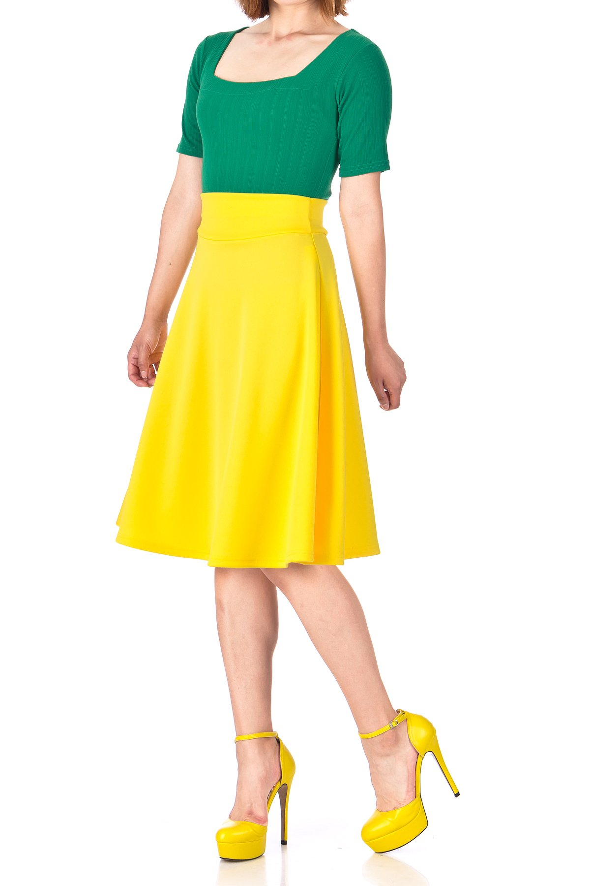 Stunning Wide High Waist A line Full Flared Swing Office Dance Party Casual Circle Skater Midi Skirt Yellow 03