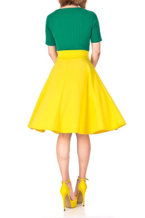 Stunning Wide High Waist A line Full Flared Swing Office Dance Party Casual Circle Skater Midi Skirt Yellow 04