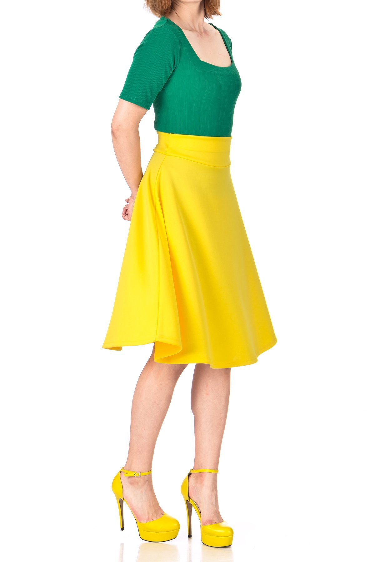 Stunning Wide High Waist A line Full Flared Swing Office Dance Party Casual Circle Skater Midi Skirt Yellow 05