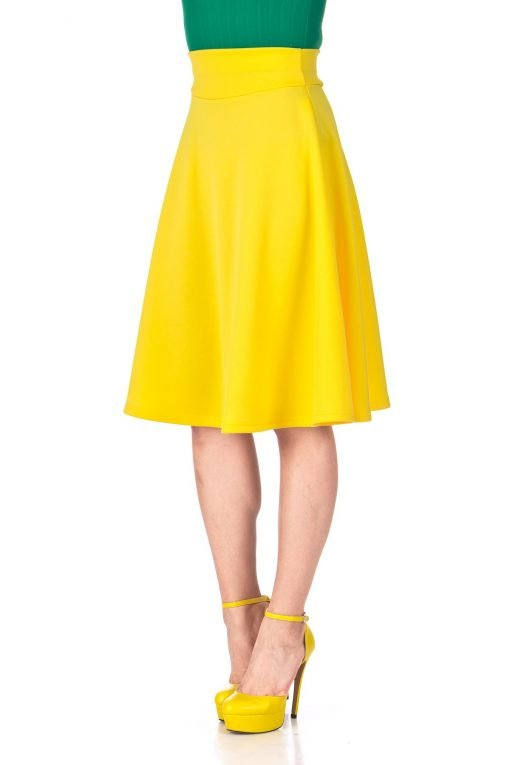 Stunning Wide High Waist A line Full Flared Swing Office Dance Party Casual Circle Skater Midi Skirt Yellow 06