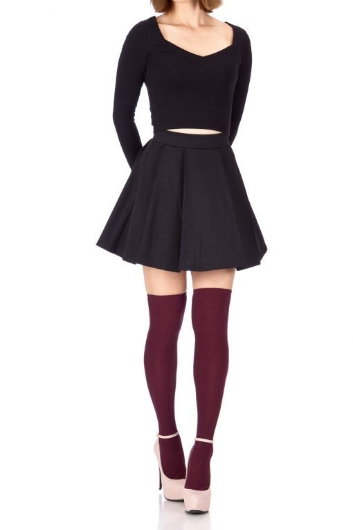 Sweet Elastic Waist School Uniform Cheerleader Tennis Pleated Mini Skirt School Uniform Cheerleader Black 1