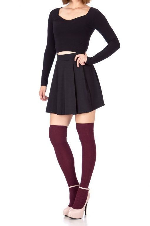 Sweet Elastic Waist School Uniform Cheerleader Tennis Pleated Mini Skirt School Uniform Cheerleader Black 3