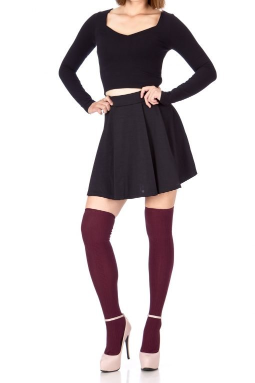 Sweet Elastic Waist School Uniform Cheerleader Tennis Pleated Mini Skirt School Uniform Cheerleader Black 4