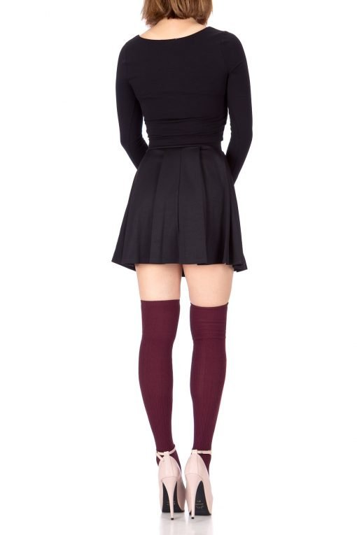 Sweet Elastic Waist School Uniform Cheerleader Tennis Pleated Mini Skirt School Uniform Cheerleader Black 5