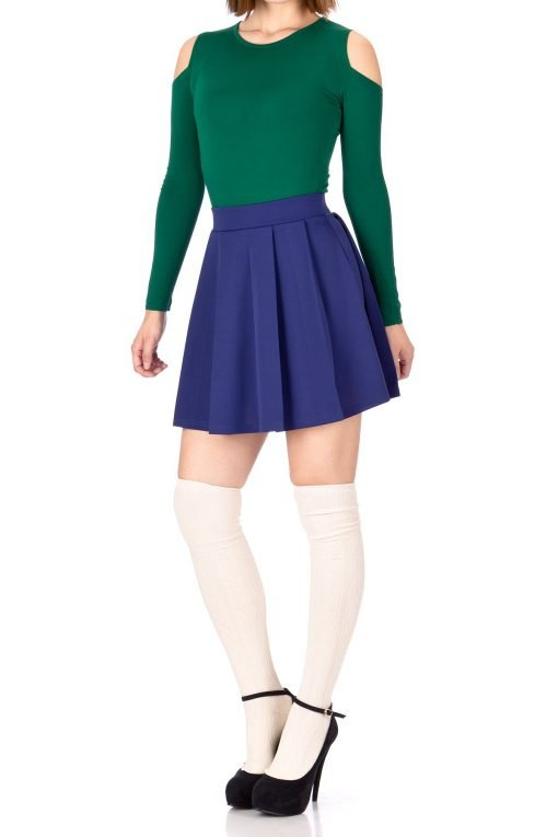 Sweet Elastic Waist School Uniform Cheerleader Tennis Pleated Mini Skirt School Uniform Cheerleader Blue 2