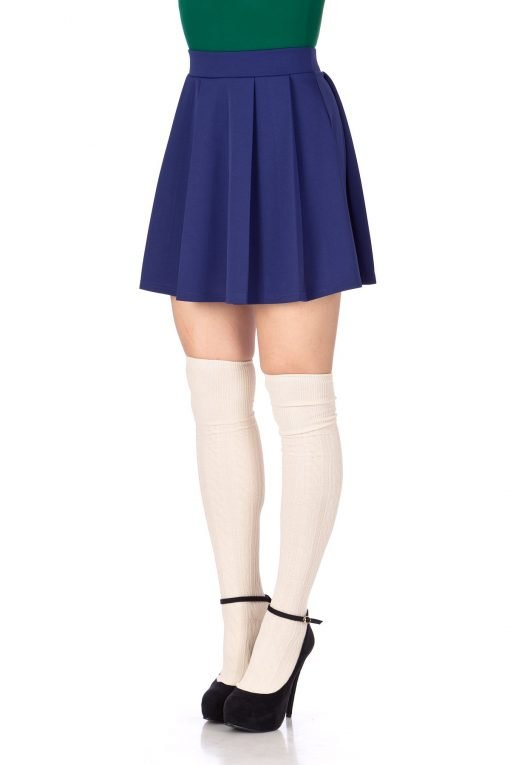 Sweet Elastic Waist School Uniform Cheerleader Tennis Pleated Mini Skirt School Uniform Cheerleader Blue 6