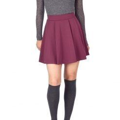 Sweet Elastic Waist School Uniform Cheerleader Tennis Pleated Mini Skirt School Uniform Cheerleader Wine 3