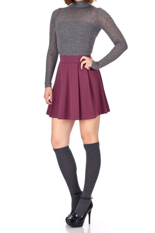Sweet Elastic Waist School Uniform Cheerleader Tennis Pleated Mini Skirt School Uniform Cheerleader Wine 4