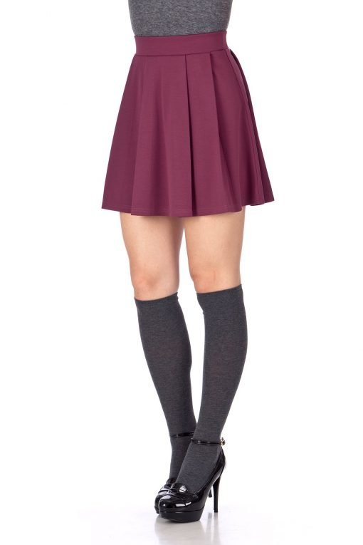 Sweet Elastic Waist School Uniform Cheerleader Tennis Pleated Mini Skirt School Uniform Cheerleader Wine 6