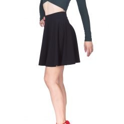 Swing Swing Wide High Waist A line Full Flared Swing Skater Short Mini Skirt Black 1