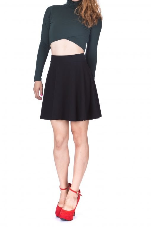 Swing Swing Wide High Waist A line Full Flared Swing Skater Short Mini Skirt Black 2