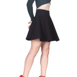 Swing Swing Wide High Waist A line Full Flared Swing Skater Short Mini Skirt Black 4