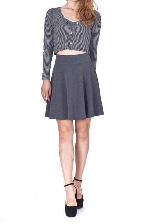 Swing Swing Wide High Waist A line Full Flared Swing Skater Short Mini Skirt Charcoal 2
