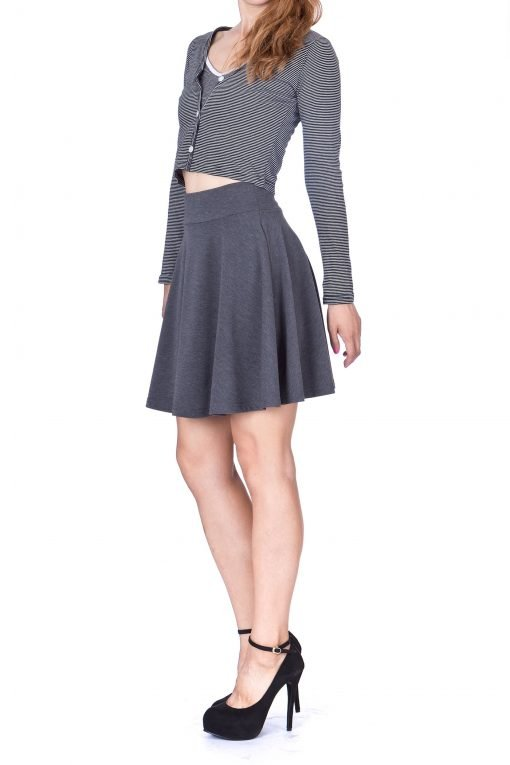 Swing Swing Wide High Waist A line Full Flared Swing Skater Short Mini Skirt Charcoal 4