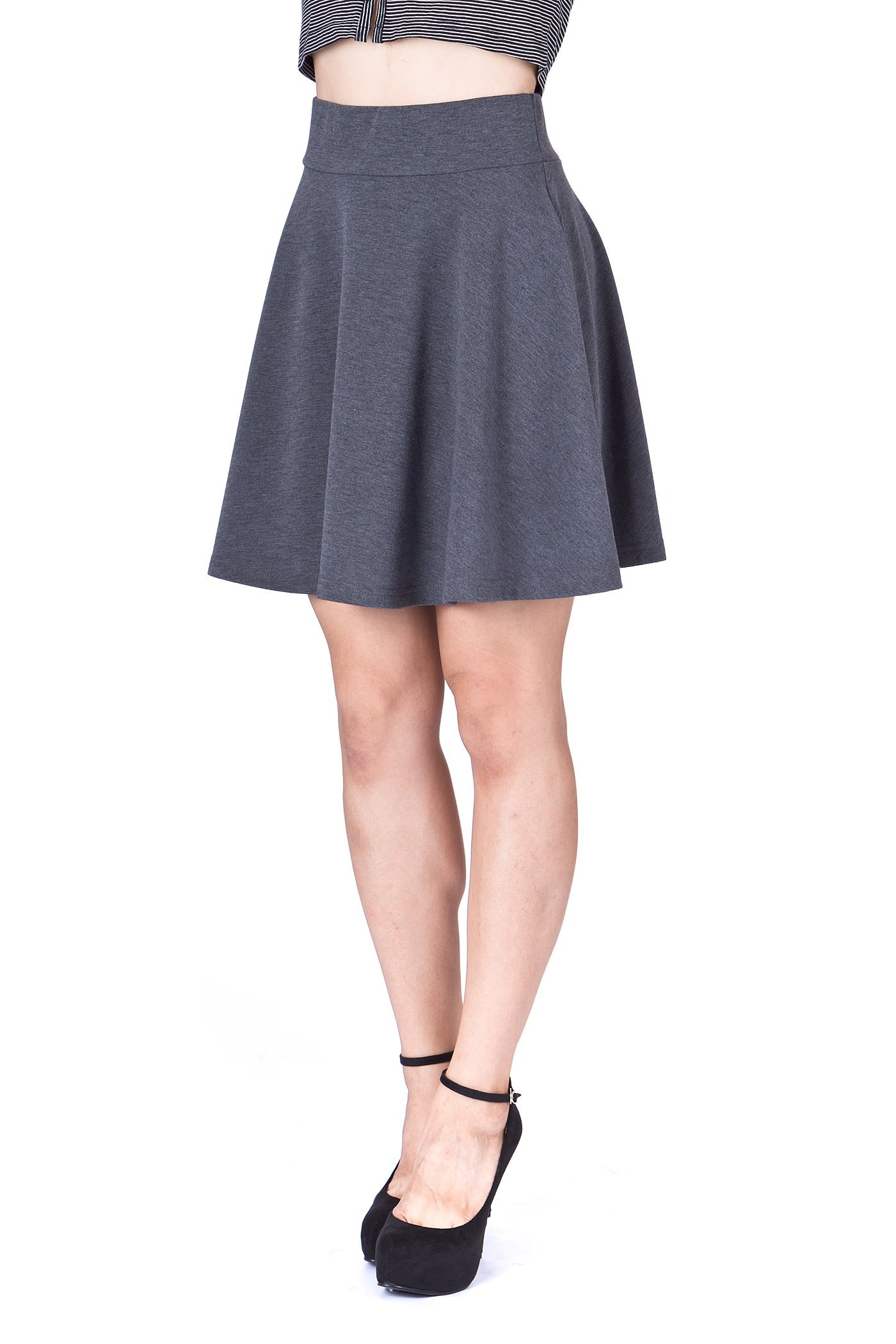 Swing Swing Wide High Waist A line Full Flared Swing Skater Short Mini Skirt Charcoal 6 1