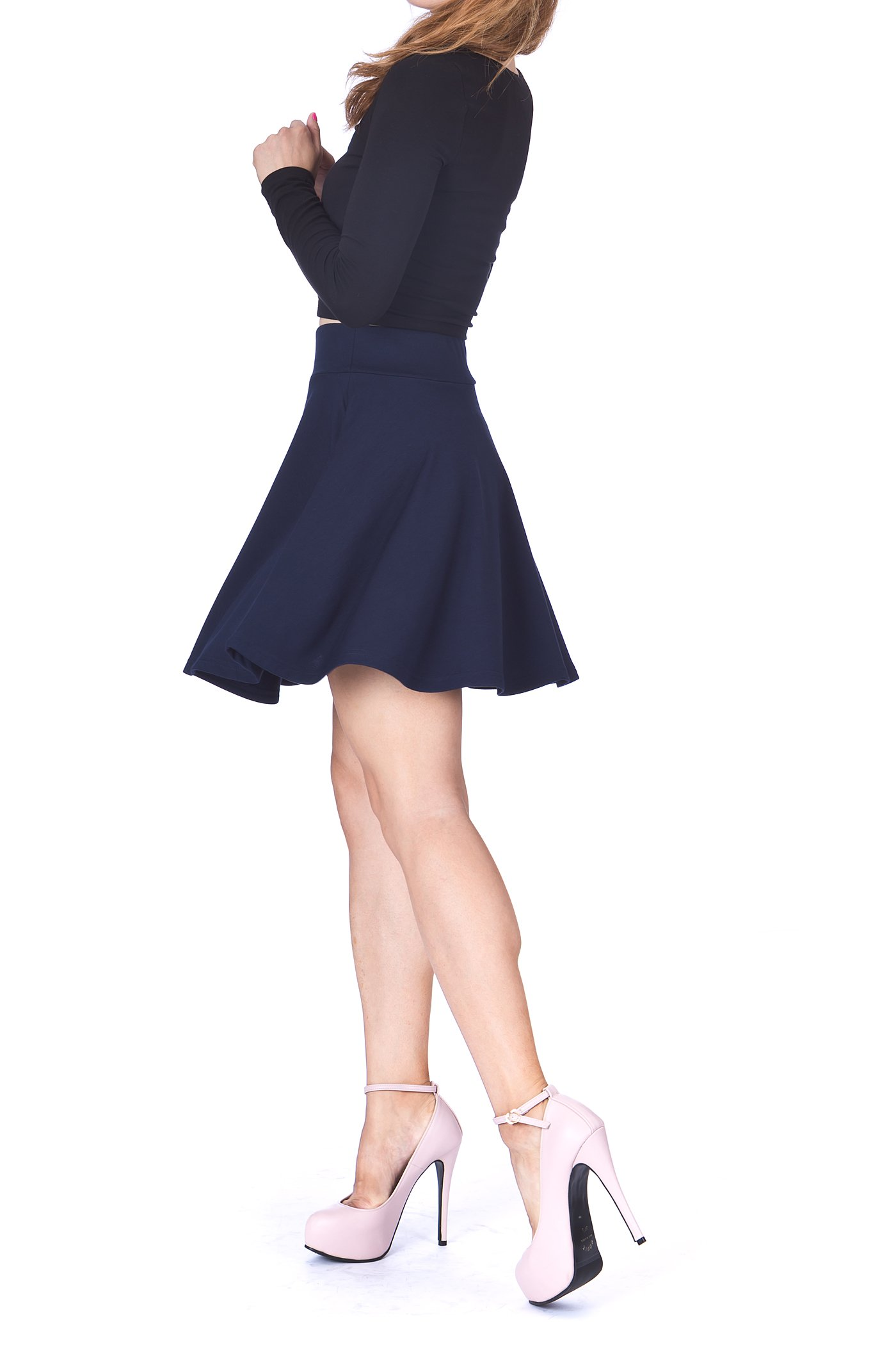 Swing Swing Wide High Waist A line Full Flared Swing Skater Short Mini Skirt Navy 1 1