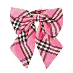Tartan Check Plaid Tie Ribbon Bow Tie Pink 2