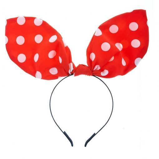 White Polka Dot Red Rabbit Ear Ribbon Headband 1