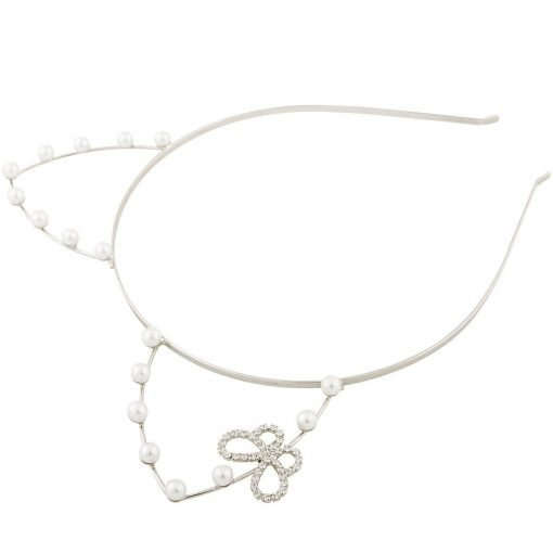 artificial pearl cat ear headband with rhinestone butterfly silver 1 1
