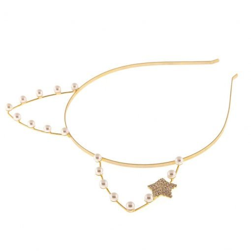 artificial pearl cat ear headband with rhinestone star gold