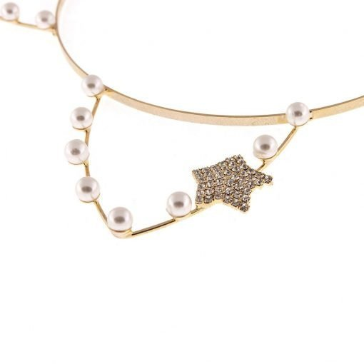artificial pearl cat ear headband with rhinestone star gold 2