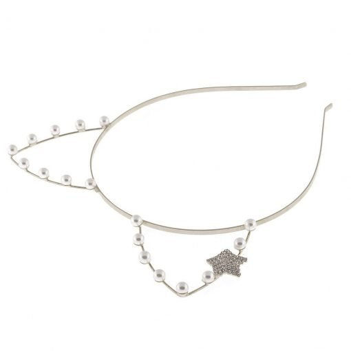 artificial pearl cat ear headband with rhinestone star silver