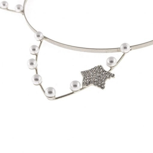 artificial pearl cat ear headband with rhinestone star silver 2