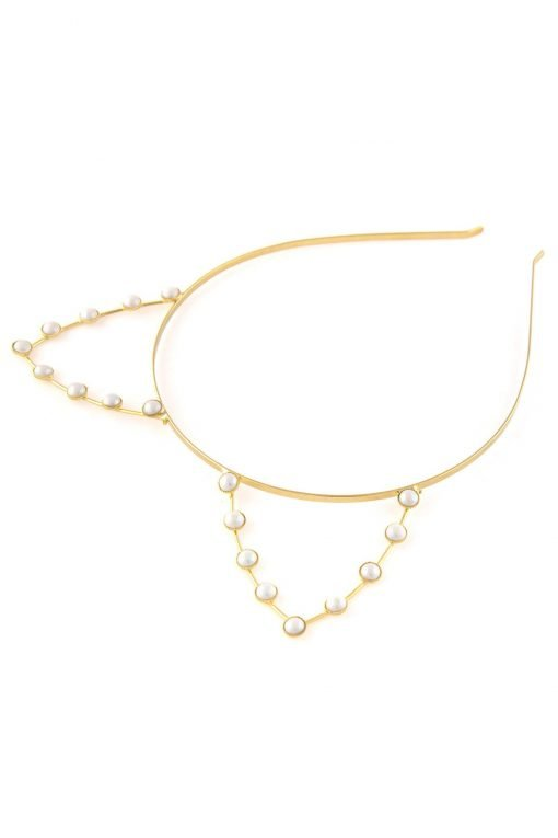 artificial pearl cat ear steel metal headband gold