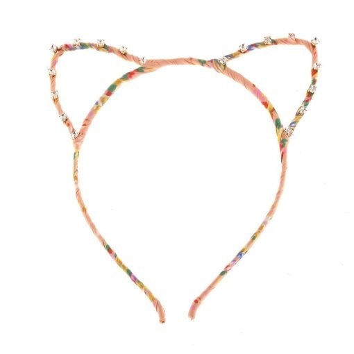 floral print cat ear headband decorated with rhinestones apricot