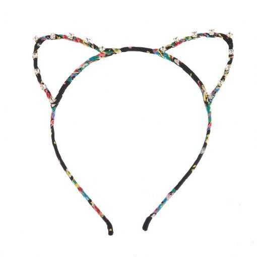 floral print cat ear headband decorated with rhinestones black