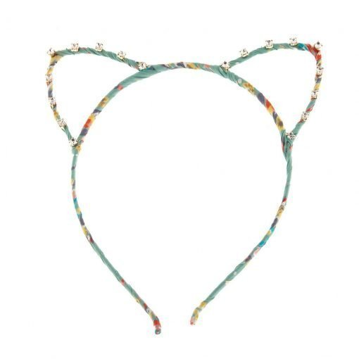 floral print cat ear headband decorated with rhinestones mint