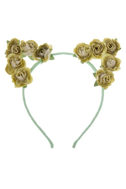 flower cat ear headband lime green