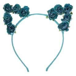 flower cat ear headband mint blue