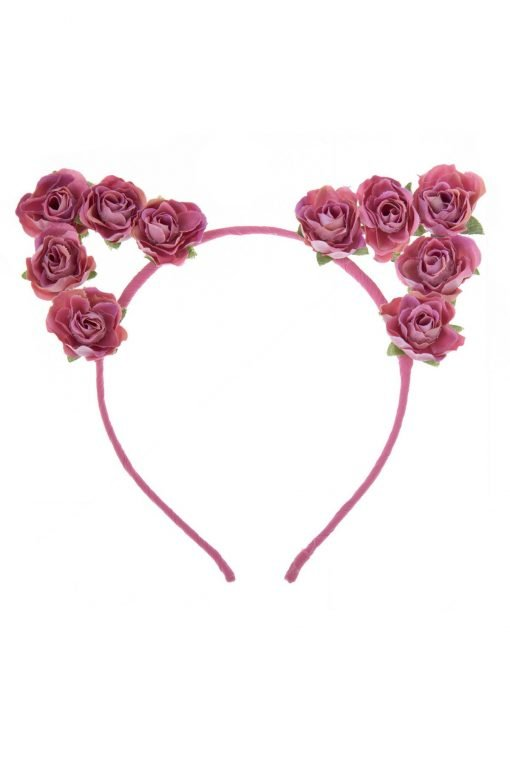 flower cat ear headband pink