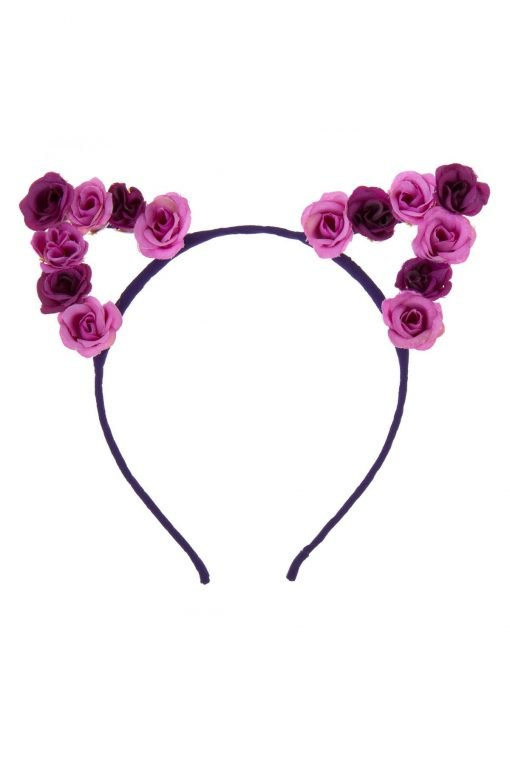 flower cat ear headband purple