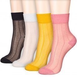 Glitter Glow Shimmer Shining Vertical Stripe Ankle Socks