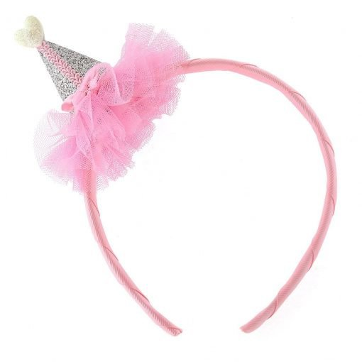 glitter  cone hat headband siliver