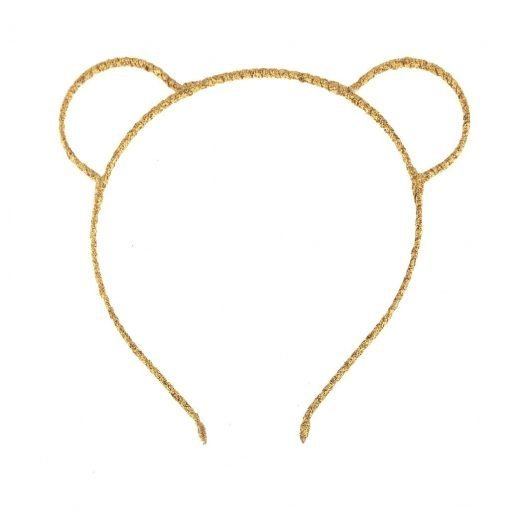 glitter bear ear headband gold