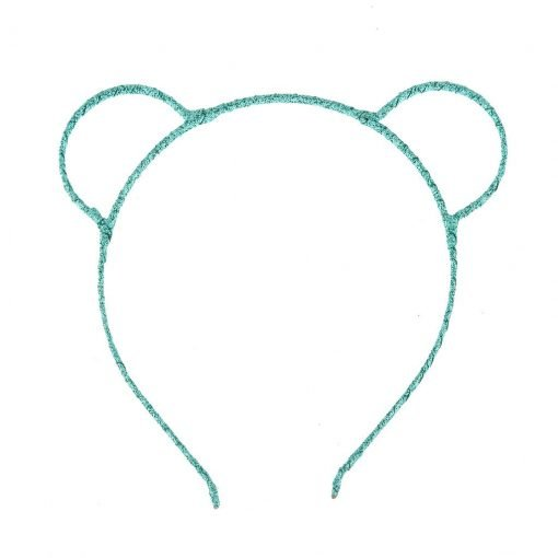 glitter bear ear headband mint